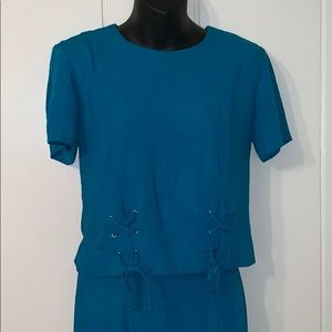 Vtg 90s Casual Corner teal blue 2 pc outfit